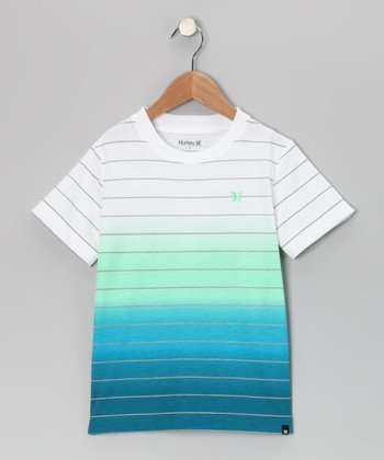 Green & Blue Stripe Malcolm Tee - Boys