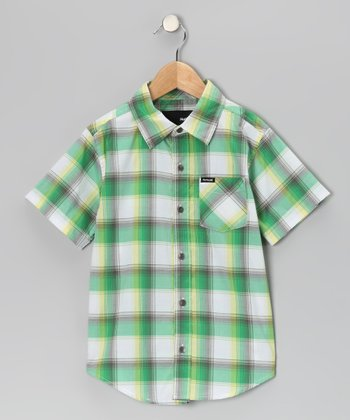 Kelly Green Plaid Button-Up - Toddler & Boys