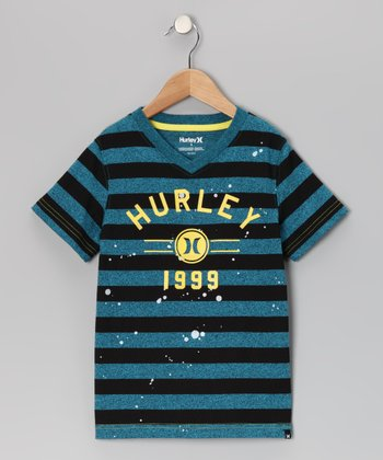 Cyan Stripe Money Maker Tee - Boys