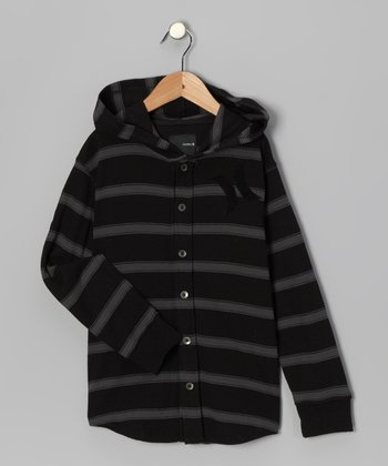 Black Stripe Button-Up Thermal - Infant