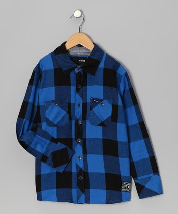 Blue & Black Plaid Flannel Button-Up