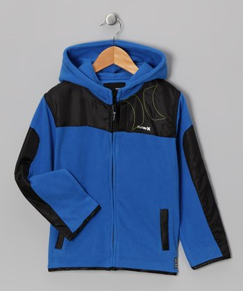 Blue & Black Fleece Jacket - Boys