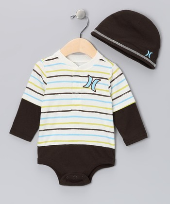 White & Brown Stripe Layered Bodysuit & Beanie - Infant