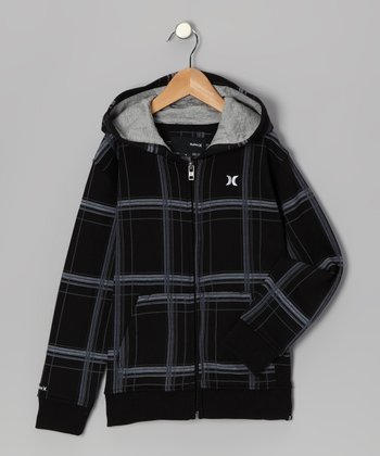 Black & Gray Plaid Zip-Up Hoodie - Infant