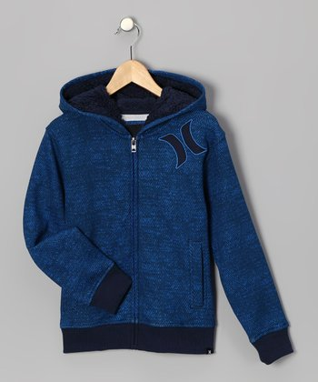 Blue Sherpa Zip-Up Hoodie - Boys