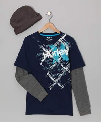 Navy Layered 'Hurley' Tee & Beanie - Boys