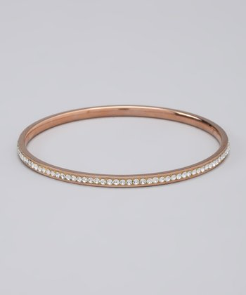 Rose Gold Tone & Crystal Bangle