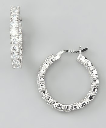 White Gold & Sterling Silver Eternity Hoop Earrings