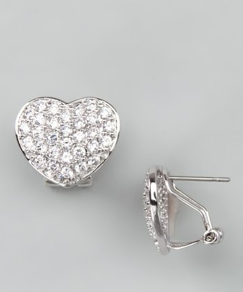Silver Crystal Heart Earrings