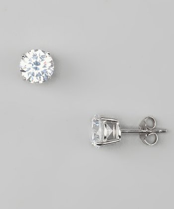 Sterling Silver 7 mm Cubic Zirconia Earrings