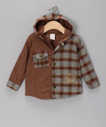 Brown Flannel Hooded Button-Up - Infant