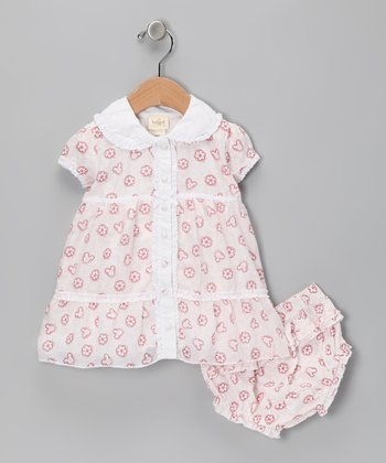 Floral Red Ruffle Dress & Diaper Cover - Infant