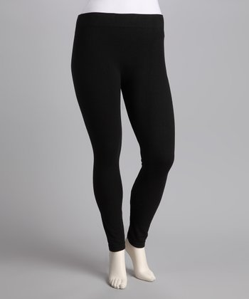Black French Terry Leggings - Plus