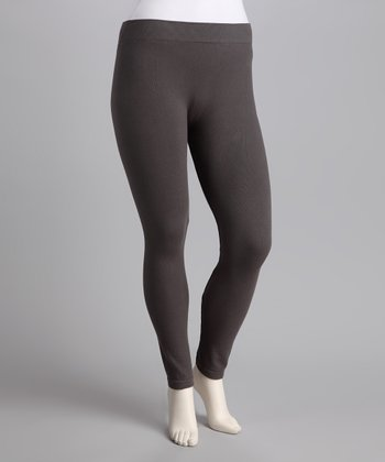 Dark Gray French Terry Leggings - Plus