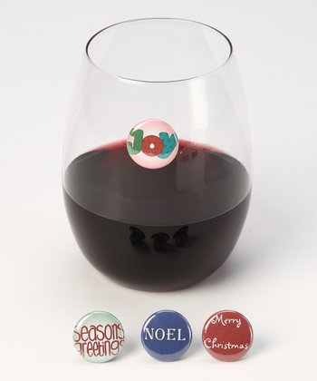 Seasons Greetings Wine Charm Set