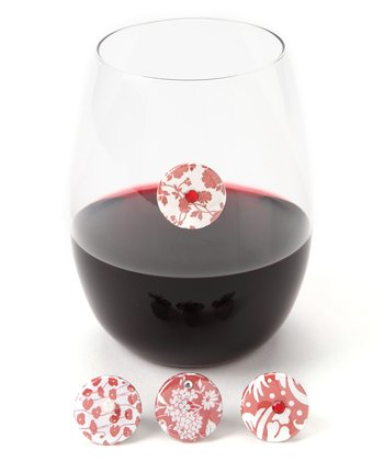 Red Floral Wine Charm Set