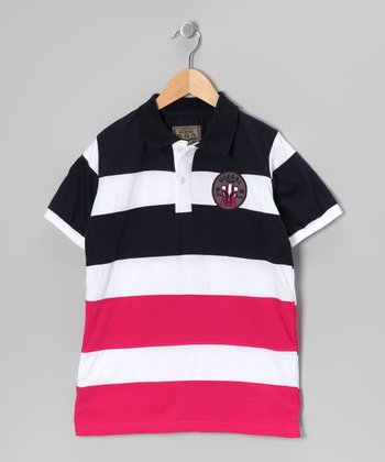 Illegal 86 Black Rugby Stripe Polo - Boys