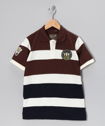 Illegal 86 Brown Rugby Stripe Polo - Boys