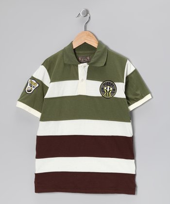 Illegal 86 Green Rugby Stripe Polo - Boys
