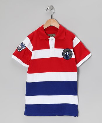 Illegal 86 Red Rugby Stripe Polo - Boys