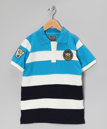 Illegal 86 Teal Rugby Stripe Polo - Boys