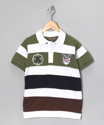 Illegal 86 Green & Black Rugby Stripe Polo - Boys