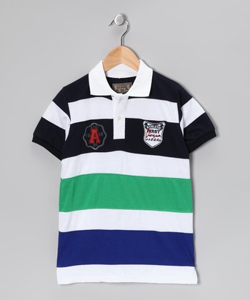 Illegal 86 Green & Royal Rugby Stripe Polo - Boys
