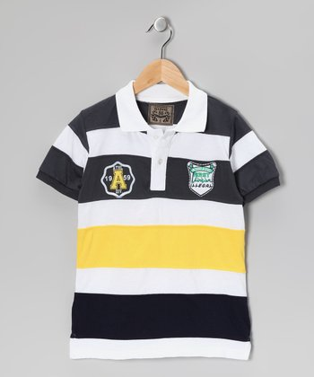 Illegal 86 Gray & Yellow Rugby Stripe Polo - Boys