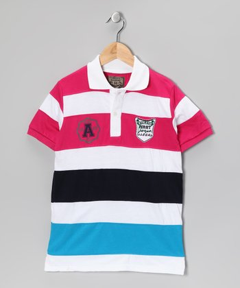 Illegal 86 Pink & Black Rugby Stripe Polo - Boys