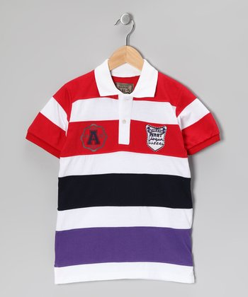 Illegal 86 Red & Purple Rugby Stripe Polo - Boys