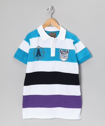 Illegal 86 Teal & Purple Rugby Stripe Polo - Boys
