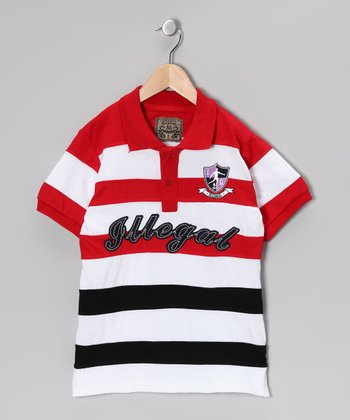 Illegal 86 Red & Black Rugby Stripe Polo - Boys