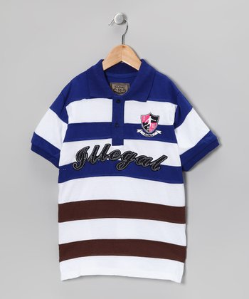 Illegal 86 Royal & Brown Rugby Stripe Polo - Boys