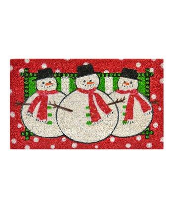 Red & Green Three Snowmen Doormat