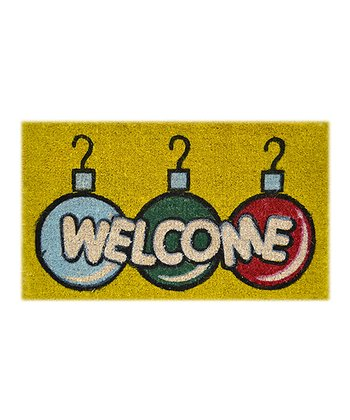 Red & Green 'Welcome' Ornament Doormat