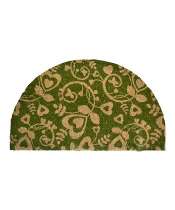 Green Heart Swirl Half-Moon Doormat