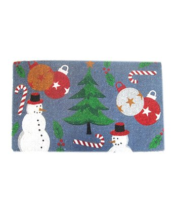 Blue Holiday Spirit Doormat