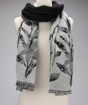 Black & White Crushed Leaf Wool Scarf