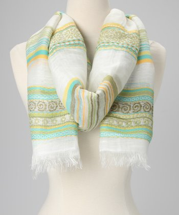 Green & Ivory Stripe Scarf