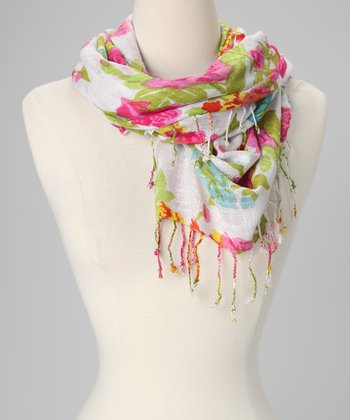 Pink Painted Rose Scarf