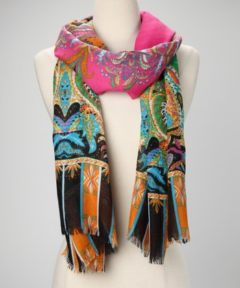 Pink Polished Paisley Scarf