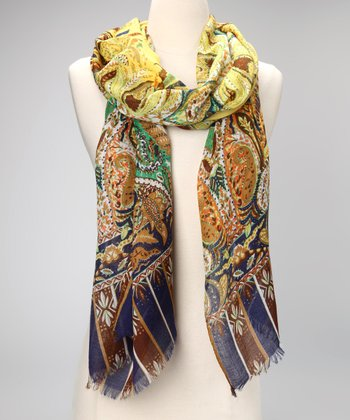Yellow Polished Paisley Scarf