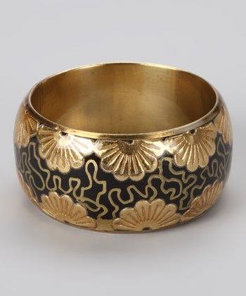 Black Foil Flower Bangle