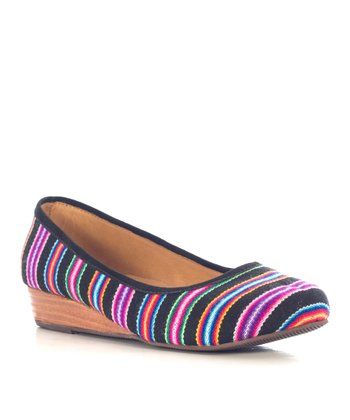 Black Stripe Inti Wedge - Women