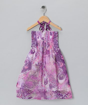 Purple Peacock Halter Dress - Toddler & Girls