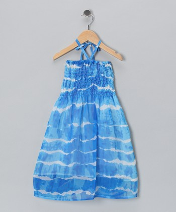 Blue Wave Shirred Halter Dress - Toddler & Girls