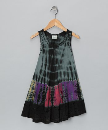 Black Tie-Dye Swing Dress - Toddler & Girls