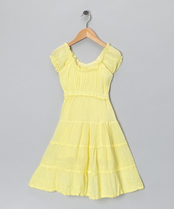 Yellow Scoop Neck Dress - Toddler & Girls