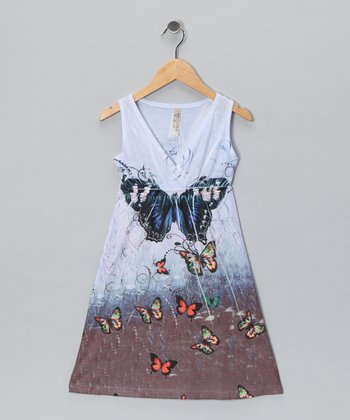 Blue Butterfly V-Neck Dress