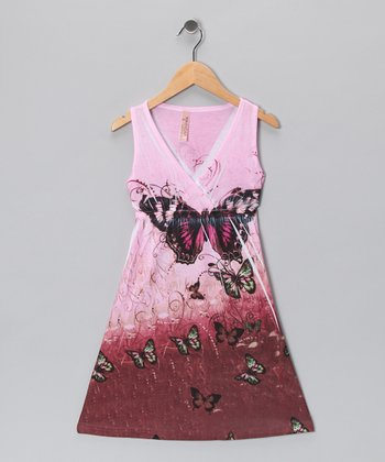 Pink Butterfly V-Neck Dress
